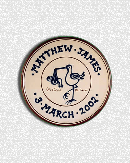 christening birth plaque plate with rabbits 20 cms lucienne de